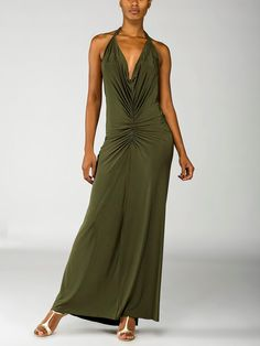Ruched Maxi Dress. Wear this sexy maxi dress with these gorgeous champagne shoes - http://www.fashionshoesforladies.com/product/1-12-beautifeels-champagne-luminous-suede-linda-for-women/