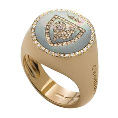 Pinky ring in yellow gold, diamonds ROOSTER and white  mother-of-pearl