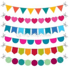 vectores Cute bunting set