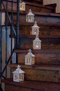 lanterns light the wooden stairway