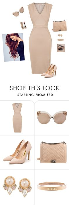 """""""The Lady Dressed In Nude"""" by hanakdudley ❤ liked on Polyvore featuring Oasis, Linda Farrow, Rupert Sanderson, Chanel, Carolee, Marc Jacobs, women's clothing, women, female and woman"""