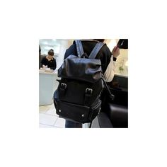 Miss Sweety Faux-Leather Buckled Drawstring Backpack (68 CAD) ❤ liked on Polyvore featuring bags, backpacks, accessories, pu backpack, faux leather bag, faux backpack, black backpack and black bag