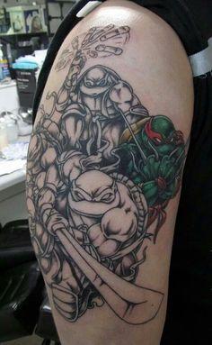 Teenage Mutant Ninja Turtles Tattoo - Sister and Brother Nerdy Tattoos, Marvel Tattoos, Batman Tattoo, Cartoon Tattoos, Body Art Tattoos, Cool Tattoos, Tatoos, Ink Tattoos, Tattoo Art