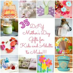 35 DIY Mother's Day Gift Ideas & Tutorials...Some are for kids to make and others for the rest of us. Some of the adult gifts are lovely!