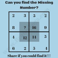 This is an Easy Picture Maths Brain Teaser for Kids. In this Picture Puzzle there are four numbers which are grouped together in a Square. Can you find the pattern used to group these numbers and then solve for the missing number? Picture Puzzles Brain Teasers, Brain Teasers Pictures, Math Puzzles Brain Teasers, Math Logic Puzzles, Brain Teasers With Answers, Hard Puzzles, Brain Teasers For Kids, Kids Math Worksheets, Puzzles For Kids