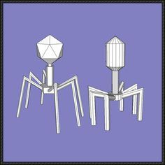Science Paper Model - Two Bacteriophage Papercrafts Free Download