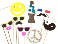 Photo Booth Props - The Decade Collection - 12 piece prop set - 70's, 80's, 90's - Birthdays, Weddings, Parties - Photobooth Props