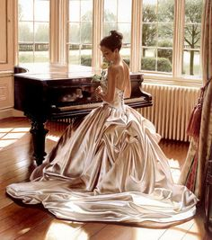 artists gallery  beautiful women paintings rob hefferan | Rob Hefferan Romantic Melody
