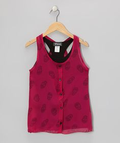Take a look at this Berry Sleeveless Sheer Layered Tank - Girls by Btween on #zulily today!
