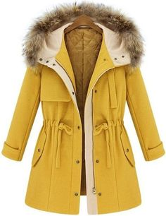 Yellow Hooded Drawstring Pockets Coat -SheIn(abaday)