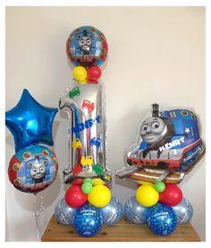 Thins the Tank children's birthday displays Balloon Flowers, Balloon Bouquet, Wedding Balloons, Birthday Balloons, Balloon Company, Birthday Display, Baby Balloon, Thomas The Tank, Balloon Decorations