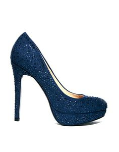 Image 1 ofFaith Navy High Heeled Court Shoes