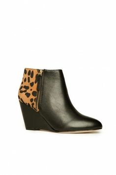 Gino Ankle Boot in Black and Leopard