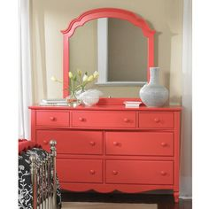 Seaside Dreams Vertical Mirror In Red Coral by Lea Industries, 890-030R. Furniture XO
