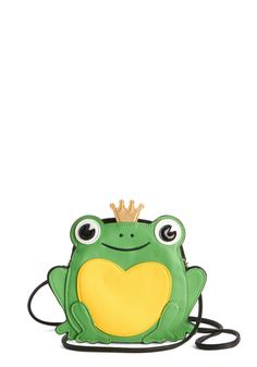 Ribbits in His Kiss Bag - Green, Multi, Quirky, Critters, Faux Leather, Fairytale