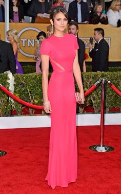 NINA DOBREV  Gorgeous in pink, the star looked poised and pretty in this darling Elie Saab design. Subtle lace insets added an unexpected twist to her classy look.