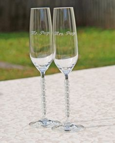 Elegant Crystal Champagne Flute SWAROVSKI Wedding by Beadz2Pleaz