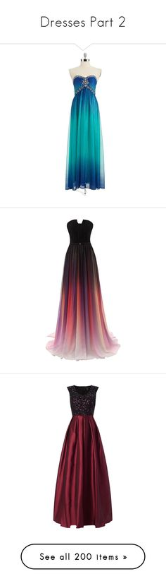 """""""Dresses Part 2"""" by ilovecats-886 ❤ liked on Polyvore featuring dresses, gowns, vestidos, long dresses, long beaded dress, blue evening dresses, blue evening gown, metallic dress, blue ombre dress and long prom gowns"""