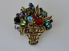 Vintage Signed Weiss Austrian Rhinestone Brooch. Brilliant AB Jewel Tones. Basket of Flowers Brooch. #Weiss $29.00