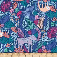 Art Gallery Selva Junglen Jolly Blue - Fabric.com Art Gallery Fabrics, Blue Fabric, Cotton Fabric, Fabric Art, Quilting Fabric, Dallas, Jungle Animals, Modern Fabric, Portfolio