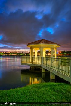 HDR image from the Downtown Gardens area in Palm beach Gardens, Florida from the lake at the Gazebo. Three exposure HDR image created in Photomatix Pro and Topaz software.