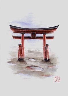 Torii gate watercolor art. https://www.etsy.com/listing/211581841/torii-gate-painting-original-watercolor? #watercolorart #toriigate #aquarelle #japanese culture