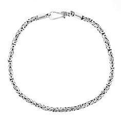 9.5 2.5mm Round Byzantine Handmade Bali Oxidized 925 Sterling Silver Bracelet Anklet *** Check out @