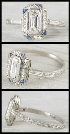 Art Deco sapphire and diamond engagement ring with a .90 carat emerald cut center diamond, Circa 1920. Via Diamonds in the Library.