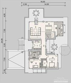Projekty domów LK Projekt LK&1127    rzuty Parter Bungalow House Design, Floor Plans, Country Homes, Hearths, Floor Plan Drawing