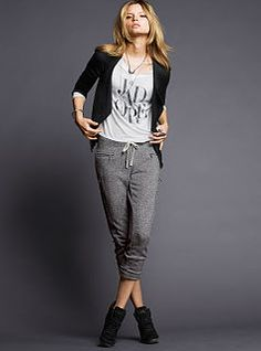 French Terry Cropped Moto Pant, Lightweight Dolman Tee & Moto Jacket.