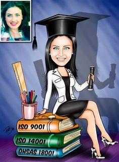 Caricaturas digitais, desenhos animados, ilustração, caricatura realista: Desenho de formanda de  Pós-Graduação Auditora Líd...