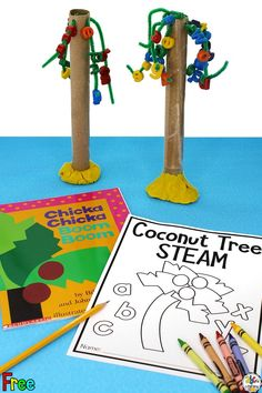 Are you looking for a fun book inspired STEAM activity for your kids? After reading the book Chicka Chicka Boom Boom by Bill Martin Jr. and John Archambault, your kids will create their own tree and see how many letters it can hold during this Coconut Tree STEAM Activity. Click on the picture to learn one way to make this tree and get the free printable Coconut Tree STEAM Activity printable packet! #childrensbookactivity #kidsbookactivity #STEAM #picturebookSTEAM #chickachickaboomboom