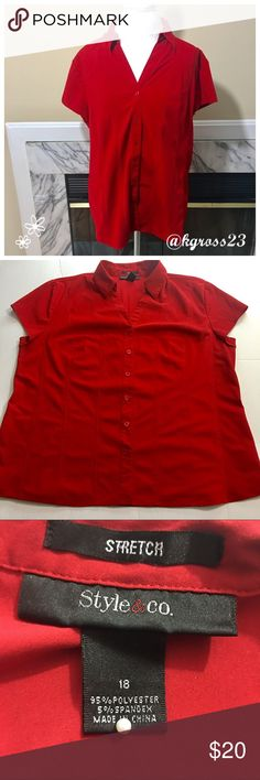 Style & Co button down blouse Colors may vary slightly to lighting and photos. No holes, rips or stains. Measurements approximately as shown in photo. ❌Smoke and pet free home. ⚡️Same/next day shipping. 💲Save by bundling or make a reasonable offer through the offer button. 🚫No trades or modeling. 📦Wrapped and shipped with care. 🎁Includes free gift. Style & Co Tops Blouses