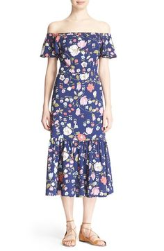 Rebecca Taylor Off the Shoulder Floral Print Dress available at #Nordstrom