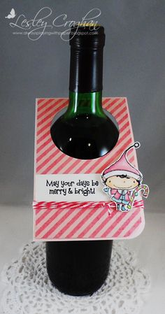 Wine tag by Lesley Croghan.  Stacey Yacula Studio stamps from Purple Onion Designs.