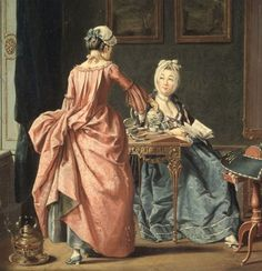 The fashionable lady is wearing two patches of different size. Very satisfying to me as Hilleström was a Swedish painter and this is the first Swedish pictorial evidence I have seen for patches being worn in Sweden, though I have literary sources. 1775 -Pehr Hillestrom-