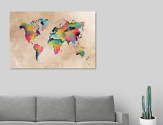 Discover «world map 32», Numbered Edition Aluminum Print by Justyna Jaszke - From $59 - Curioos