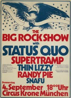 Status Quo - Supertramp - Randy Pie - Thin Lizzy, concert poster