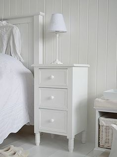 Simple white bedside cabinet with drawers. White bedroom furniture. New England, Scandi, Danish and French style bedroom furniture from The White Lighthouse