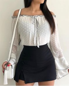 Shop Blouses & Shirts Off Shoulder Bell Sleeve Casual Blouse Summer Outfits, Casual Outfits, Fashion Outfits, Fashion Trends, Women's Casual, Fashion Fashion, Fashion Ideas, Winter Fashion, Hippie Fashion