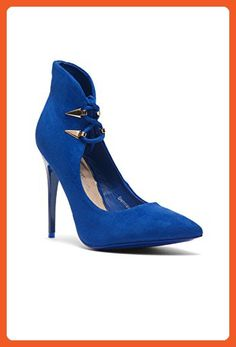 dee9edc81a56 Herstyle Dennay Faux Suede Lace-Tie Pointy Toe Stiletto Pump Royal Blue 10  - Pumps for women ( Amazon Partner-Link)
