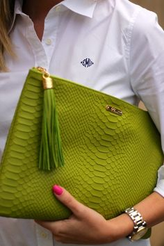 Green Croc clutch and white button-down with monogram. BowsandDepos: All In The Details