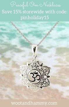 Be at peace in the universe with this pretty om necklace.  Save 15% storewide with code: pinholiday15.  Free shipping in the USA! Om Necklace, Lotus Necklace, Necklaces, Bracelets, Yoga Jewelry, Jewelry Art, Jewellery, Om Sign, Om Symbol