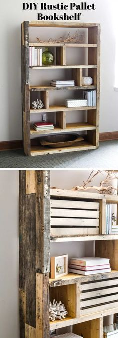 Best DIY Bookshelf Ideas & Plans For 2019 - Wooden Crates Bookshelf Diy Bookshelf Design, Unique Bookshelves, Floating Bookshelves, Crate Bookshelf, Wood Bookshelves, Bookshelf Ideas, Palette Bookshelf, Rustic Bookshelf, Bookcase