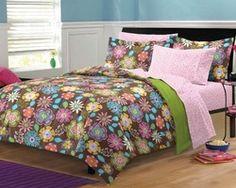 Flower Garden Girls Teen Bedding Comforter Set, Twin, 5 Pieces...For more girls teen bedding options follow https://www.facebook.com/GirlsRooms