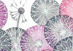 Print dandelion art watercolor pink illustration by VApinx on Etsy