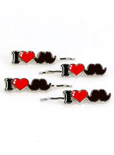 I Heart Mustaches Hair Pins at PLASTICLAND Megan