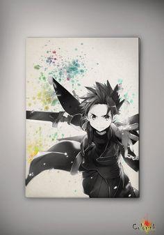 Sword Art Online Kirito Watercolor Print 8x11 11x16 Archival Print - Art Print - Wall Decor Art Poster- Anime Print- Manga -Cartoon Geek A3 on Etsy, 62,62 zł