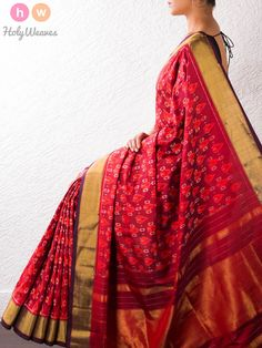 Red Handwoven Katan Silk Pochampally Saree