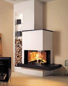 Pre vypracovanie cenovej ponuky na obstavbu nás kontaktujte. Corner Gas Fireplace, Living Room Decor Fireplace, Modern Fireplace, Fireplace Wall, Fireplace Design, Home Living Room, Living Place, Foyers, Style At Home